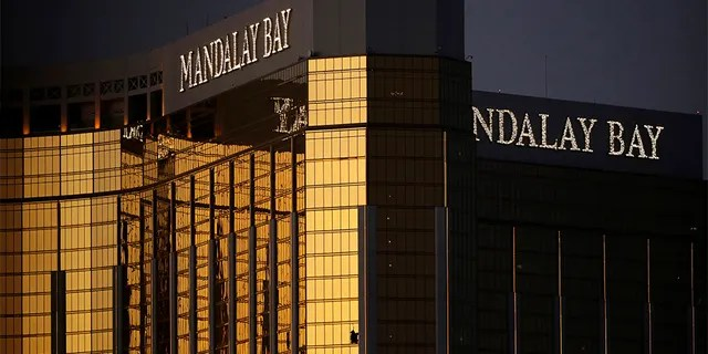 In this Oct. 3, 2017, file photo, windows are broken at the Mandalay Bay resort and casino in Las Vegas, the room from where Stephen Paddock fired on a nearby music festival, killing 58 and injuring hundreds.