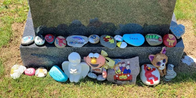 Some of the rocks currently at Sean's grave.