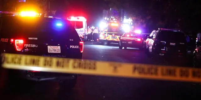 Police and emergency vehicles work at the scene of a shooting at a backyard party, Sunday, Nov. 17, 2019, in southeast Fresno, Calif. (Larry Valenzuela/The Fresno Bee via AP)