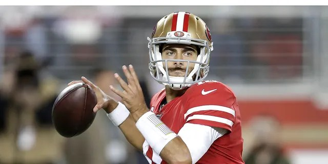 San Francisco 49ers quarterback Jimmy Garoppolo (10) passes against the Green Bay Packers during the first half of an NFL football game in Santa Clara, Calif., Sunday, Nov. 24, 2019. (Associated Press)