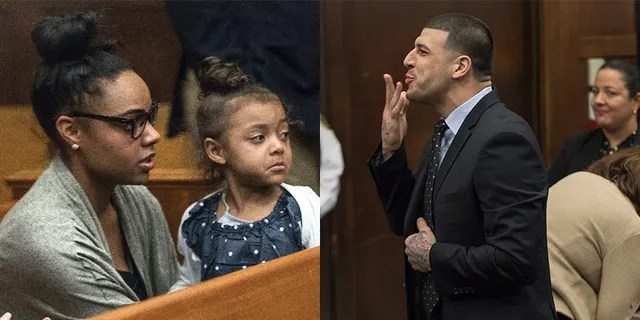 Aaron Hernandez blowing a kiss to his daughter.