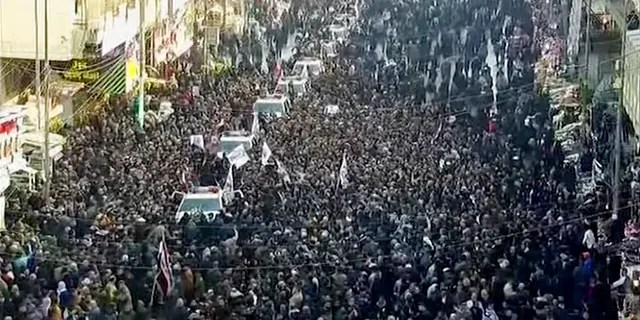 The mourners, mostly men in black military fatigues, carried Iraqi flags and the flags of Iran-backed militias that are fiercely loyal to Soleimani. They were also mourning Abu Mahdi al-Muhandis, a senior Iraqi militia commanderwho was killed in the same strike.