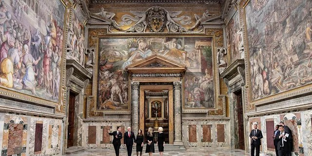 U.S. Vice President Mike Pence, second from left, and part of his delegation are given a private tour of the Vatican after his private audience with Pope Francis, at the Vatican, Friday, Jan. 24, 2020. (Associated Press)