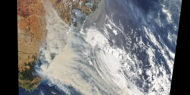Around 150 wildfires burned in New South Wales and Queensland, spread by the extremely hot, dry and wind conditions in the country. Plumes of smoke are visible via satellite images.