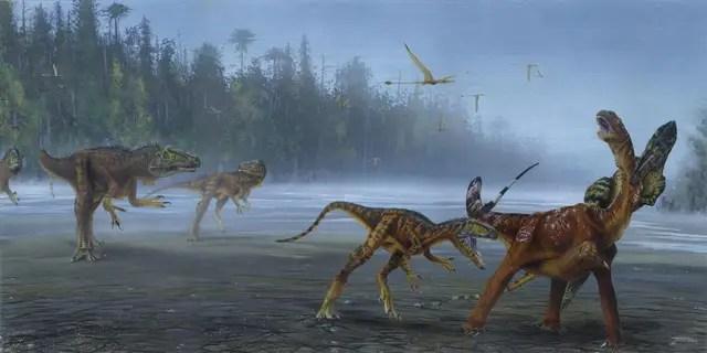 Illustration of Allosaurus jimmadseni attacking a juvenile sauropod. (Todd Marshall)