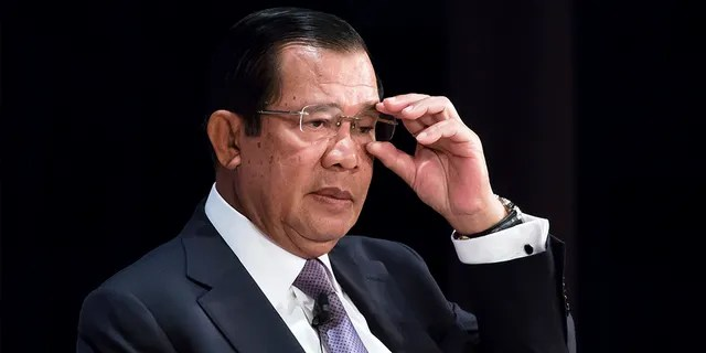 Cambodia's Prime Minister Hun Sen adjusts his glasses during the 25th International Conference on The Future of Asia on May 30, 2019 in Tokyo, Japan. (Photo by Tomohiro Ohsumi/Getty Images)