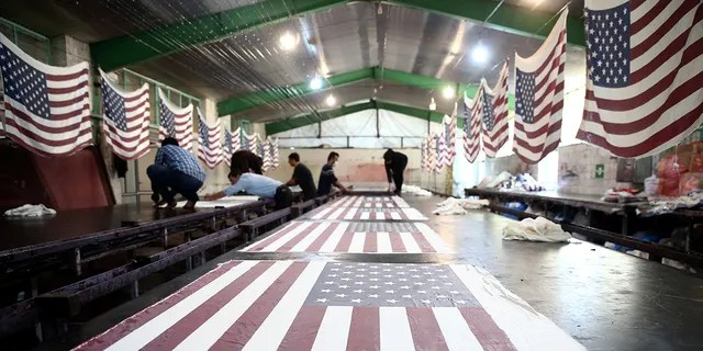 A general views shows U.S. flags at a large flag factory which creates U.S. and Israeli flags for Iranian protesters to burn in Khomein City, Iran.