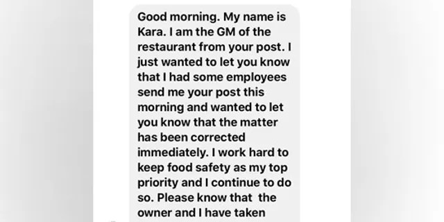 Holieb shared an image of a message he received from the McDonald's general manager.