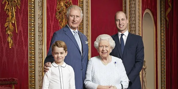 Queen Elizabeth, Prince Charles, Prince William and Prince George took a picture in the throne room of Buckingham Palace, London to mark the beginning of the new decade.