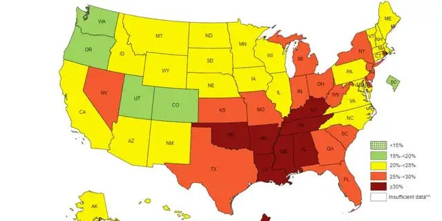 The map of physical inactivity levels across the U.S.