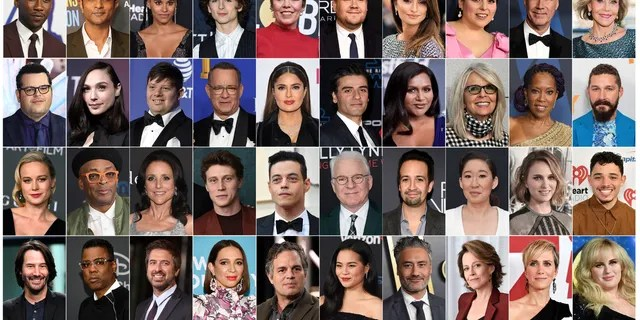 This combination photo shows the presenters announced for the 92nd Academy Awards, top row from left, Mahershala Ali, Utkarsh Ambudkar, Zazie Beetz, Timothée Chalamet, Olivia Colman, James Corden, Penélope Cruz, Beanie Feldstein, Will Ferrell, Jane Fonda, second row from left, Josh Gad, Gal Gadot, Zack Gottsagen, Tom Hanks, Salma Hayek, Oscar Isaac, Mindy Kaling, Diane Keaton, Regina King, Shia LaBeouf, third row from left, Brie Larson, Spike Lee, Julia Louis-Dreyfus, George MacKay, Rami Malek, Steve Martin, Lin-Manuel Miranda, Sandra Oh, Natalie Portman, Anthony Ramos, and bottom row from left, Keanu Reeves, Chris Rock, Ray Romano, Maya Rudolph, Mark Ruffalo, Kelly Marie Tran, Taika Waititi, Sigourney Weaver, Kristen Wiig and Rebel Wilson. The Oscars will be held on Sunday. (AP Photo)
