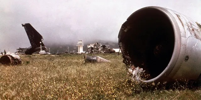 Part of the wreckage of the two Boeing 747s which collided on the runway in Tenerife, killing 583 people .