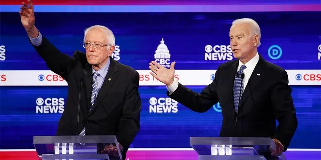 From left, Democratic presidential candidates, Sen. Bernie Sanders, I-Vt., and former Vice President Joe Biden, participate in a Democratic presidential primary debate at the Gaillard Center, Tuesday, Feb. 25, 2020, in Charleston, S.C., co-hosted by CBS News and the Congressional Black Caucus Institute. (AP Photo/Patrick Semansky)