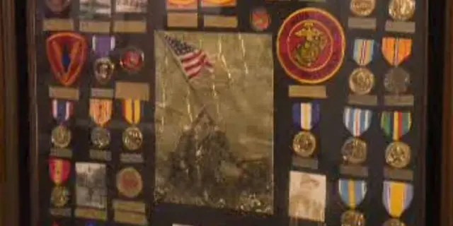 Some of Maj. Bill White's military medals, pictured.In the Second World War, White served in the Marine Corps and survived the Battle of Iwo Jima(KTXL)