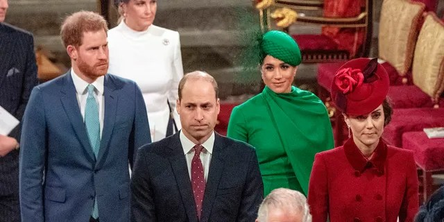 From left, Britain's Prince Harry, Prince William, Meghan Duchess of Sussex and Kate, Duchess of Cambridge leave the annual Commonwealth Service at Westminster Abbey in London Monday March 9, 2020.