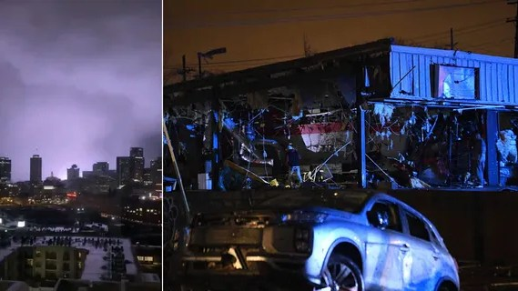 Damaged vehicles and buildings are seen in East Nashville after a tornado hit the city in the early morning hours of Tuesday, March 3, 2020.