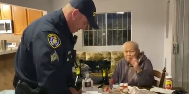 """The man, identified as 95-year-old """"Mr Teo,"""" thanked officers for going out for him to run errands during the coronavirus pandemic."""