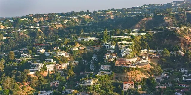 Aerial view of houses on the Hollywood Hills in Los Angeles, California, USA.