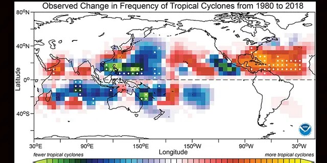 The areas that saw an increase in the frequency of tropical cyclones from 1980 to 2018 are marked in red, yellow, and orange, while areas that saw a decrease are shaded in blue and green.