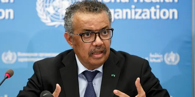 Tedros Adhanom Ghebreyesus, Director-General of the World Health Organization (WHO), speaks at a press conference on the COVID-19 update at WHO headquarters in Geneva, Switzerland, February 24, 2020 (Salvatore Di Nolfi / Keystone) via AP, File)