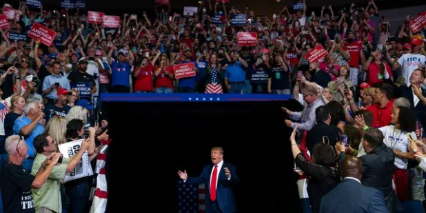 President Donald Trump arrives on stage to speak at a campaign rally at the BOK Center on Saturday, June 20, 2020, in Tulsa, Oklahoma (AP Photo / Evan Vucci)