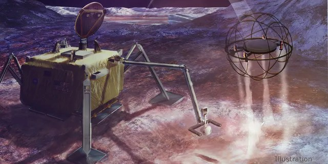 Moons In this artist's concept, a SPARROW robot uses steam propulsion to hop away from its lander home base to explore an icy moon's surface. (Credit: NASA/JPL-Caltech)