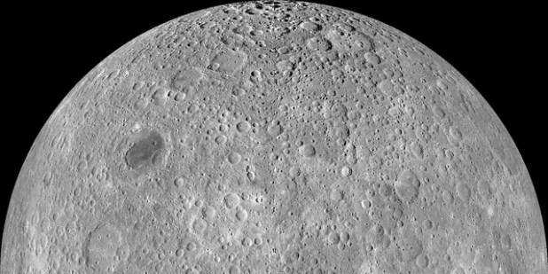 The other side of the moon.  The orthographic projection of the Wide Angle Camera (WAC) Lunar Reconnaissance Orbiter Camera (LROC) centered at 180 ° longitude, 0 ° latitude.