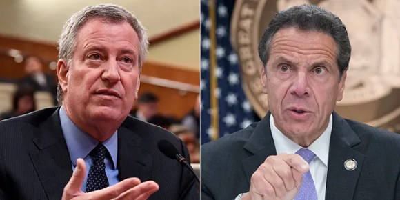 New York City Mayor Bill de Blasio and New York Gov. Andrew Cuomo are being sued by Catholic priests and Orthodox Jewish congregants for using coronavirus restrictions to discriminate against people of faith. (AP)