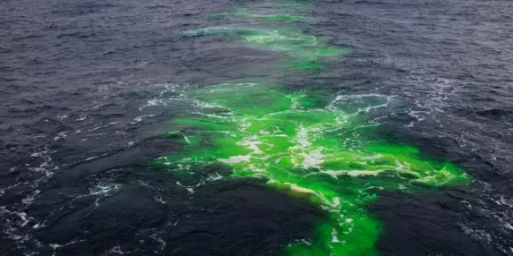 Fluorescent dye was used to track the evolution and mixing of water across the Gulf Stream. Here fluorescein dye was released along the north wall of the Gulf Stream, and tracked by ship as it mixed horizontally across the current.