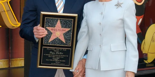 During Regis Philbin and wife Joy Philbin, Regis Philbin honored Hollywood with a star on the Hollywood Walklev, Hollywood Walk of Fame in Hollywood, California, United States.