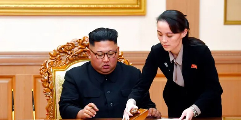 FILE: Kim Yo Jong, right, helps her brother North Korean leader Kim Jong Un sign a joint statement following the summit with South Korean President Moon Jae-in at the Paekhwawon State Guesthouse in Pyongyang, North Korea.