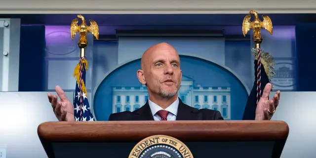 Food and Drug Administration Commissioner Dr Stephen Hahn speaks during a press briefing in the James Brady Briefing Room of the White House, Sunday, August 23, 2020, in Washington.