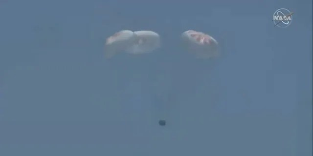 The capsule splashed down in the Gulf of Mexico.