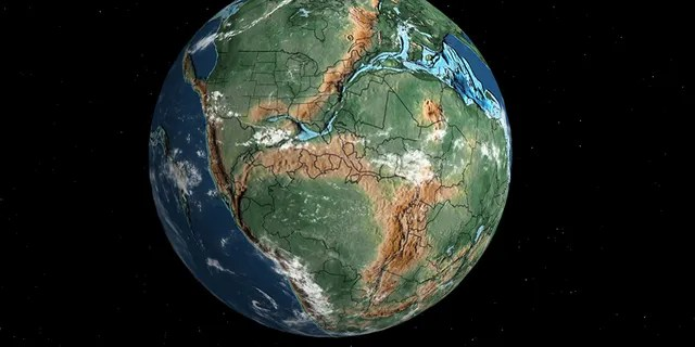A map showing what Earth looked like millions of years ago.