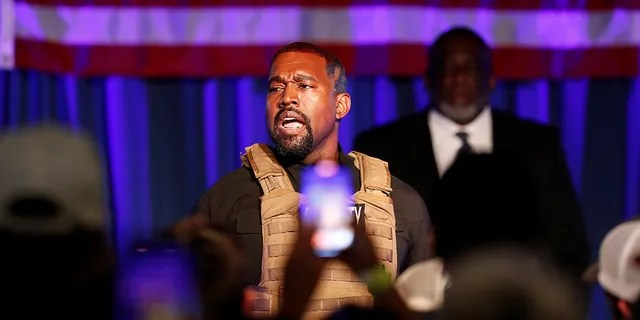 Rapper Kanye West holds his first rally in support of his presidential bid in North Charleston, S.C., July 19, 2020.