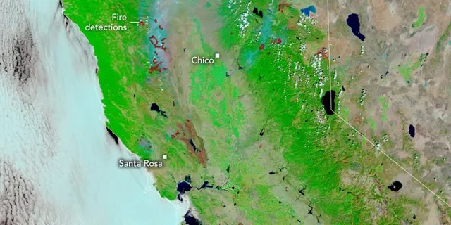 Burn scars can be seen on satellite imagery from NASA that shows the differences from burned and unburned vegetation.
