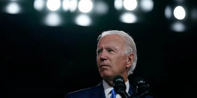 Democratic presidential candidate former Vice President Joe Biden pauses as he speaks in Wilmington, Del., Sept. 2, 2020, about school reopenings. (AP Photo/Carolyn Kaster)
