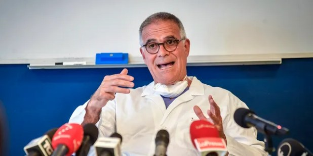 Alberto Zangrillo, Silvio Berlusconi's longtime physician, talks to reporters on Friday, September 4, 2020, at Milan's San Rafael Hospital.  (Claudio Furlan / Laspe via AP)