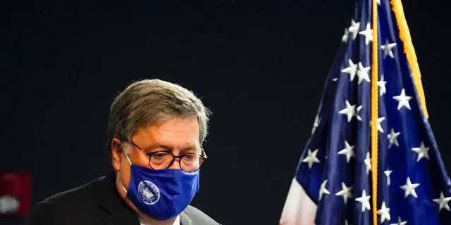 U.S. Attorney General William Barr arrives to speak with federal officials for a panel discussion on combatting human trafficking at the U.S. Attorney's Office on Monday, Sept. 21, 2020, in Atlanta.