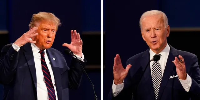 President Donald Trump, left, and former Vice President Joe Biden during the first presidential debate Tuesday, Sept. 29, 2020, at Case Western University and Cleveland Clinic in Cleveland, Ohio. (AP Photo/Patrick Semansky)