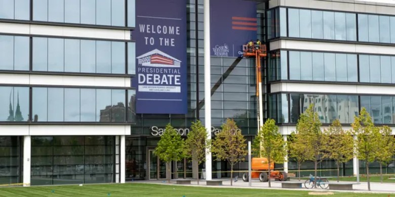 The Sheila and Eric Samson Pavilion, site of the first presidential debate, which is being hosted by Case Western Reserve University and Cleveland Clinic, in Cleveland, Ohio