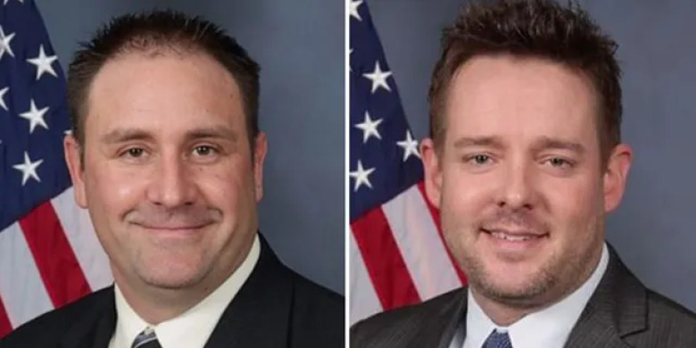 Officer Myles Cosgrove, left, and Sgt. Jonathan Mattingly both remain on administrative leave from the Louisville Metropolitan Police Department, officials said Thursday. Both were involved in the March 13 raid that ended with the death of Breonna Taylor. (Louisville Metro Police Department)