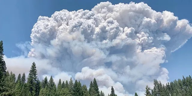 Towering smoke plumes from the Creek Fire can be seen on Saturday, Sept. 5, 2020.