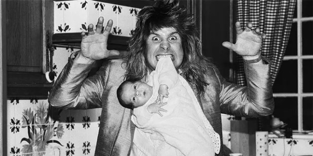 Former lead singer of Black Sabbath Ozzy Osbourne painted at home on November 25, 1985, two weeks after the birth of their baby boy Jack.