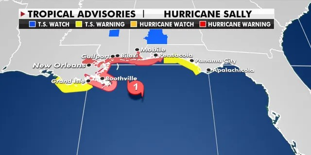 The hurricane and tropical storm warnings from Hurricane Sally.