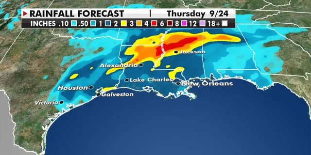 Expected rainfall amounts through Thursday from Tropical Storm Beta