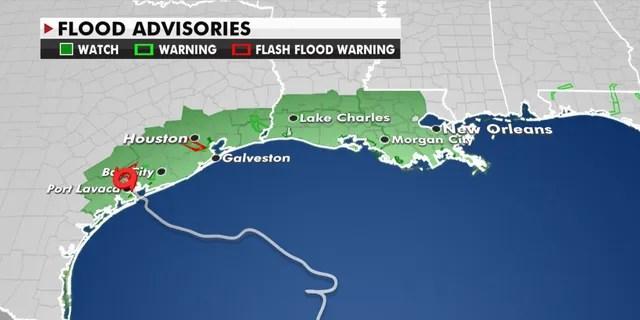 Flood advisories stretch from Texas into Louisiana as Tropical Storm Beta slowly moves along the coast.