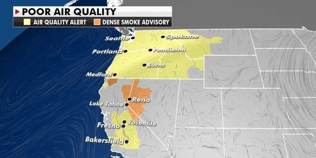 Poor air quality can be expected again in parts of the West Coast and Northwest.