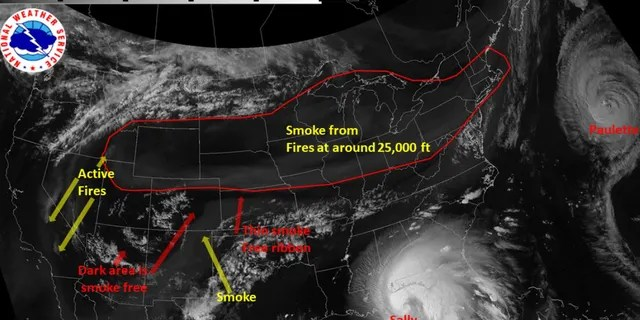 Wildfire smoke extends from the West Coast all the way to New England in this satellite imagery from Sept. 14, 2020.