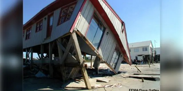 Although elevated, this house in North Carolina could not withstand the 15 feet of storm surge that came with Hurricane Floyd in 1999.